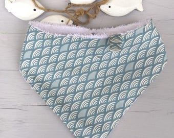 "Baby bib bandana ""blue scales"". All cotton bib and organic Terry."