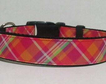 Plaid Dog Collar - Adjustable Dog Collar - Pink and Orange Plaid