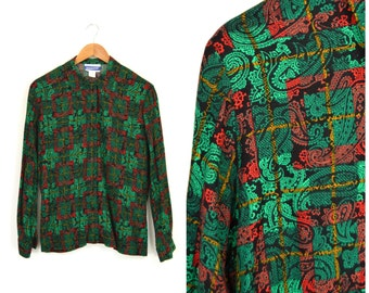 Vintage PENDLETON Button Down Rayon Shirt   Paisley Print Long Sleeve Button Up Blouse   Red & Green Christmas Blouse Holiday Shirt Sz Med