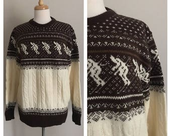 1970s Jantzen Ski Themed Knit Pullover