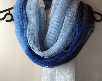 Linen Scarf Shawl Wrap Stole azure cornflower blue Multicolored Light