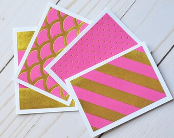 Pink and Gold Mini Cards // Set of 4 // Blank Cards // Gold Foil // Enclosure Cards // Love Notes // Advice Cards // Gift Tag