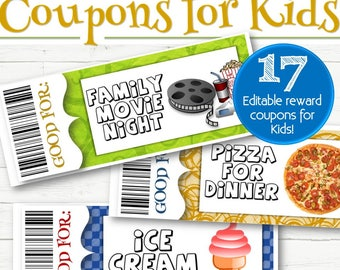 EDITABLE Reward/Gift Coupons for Kids - INSTANT DOWNLOAD