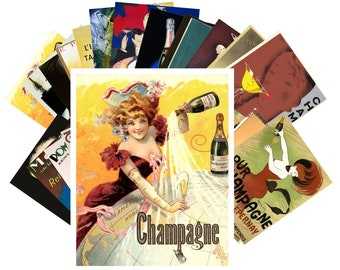 Postcards Set 24pcs * Vintage Champagne Wine Ads Posters Alcohol CC1009