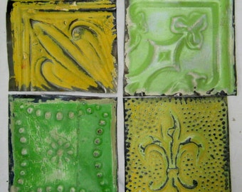 AUTHENTIC Tin Ceiling 6x6 GREEN YELLOW Set of 4 Crafts Art Tiles S 1218-13