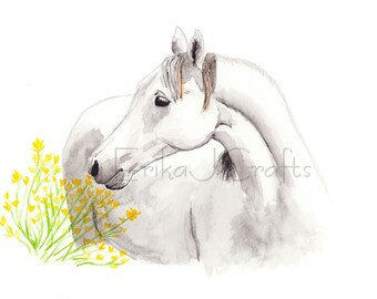 White horse with yellow flowers watercolor painting, watercolor print, home decor, art