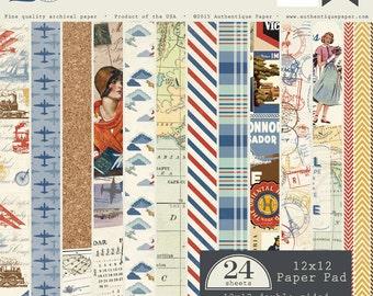 Authentique - EXPLORE 24 Sheets 12x12 Double-Sided Paper Pad, Travel Scrapbook Paper, Vintage Scrapbook Paper