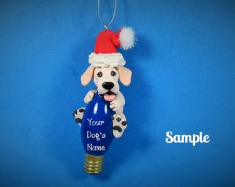 Yellow Labrador Retriever Dog Santa Christmas Holidays Light Bulb Ornament Sally's Bits of Clay PERSONALIZED FREE with your dog's name