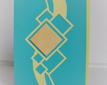 Card geometric square patterns green / yellow all occasions