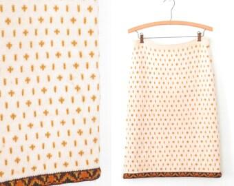 vintage sweater skirt * wool skirt * mid century skirt * pencil skirt * nordic knit skirt * m / l