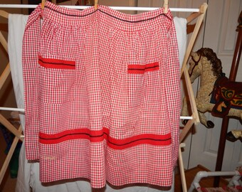 Red and White Gingham Check Apron with Black Rick Rack Trim, Adult Size