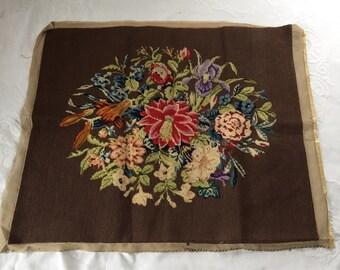 Vintage Floral Needlepoint Completed