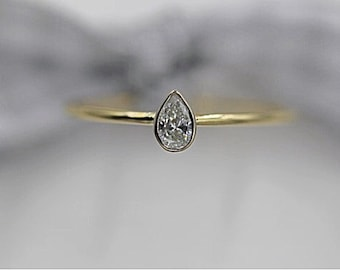 14k solid gold stackable ring pear shape diamond ring minimalist ring stacking ring