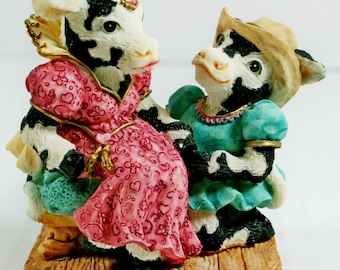 Cowtown Romecow & Mooliet Cow Figurine Romeo Juliet Shakespeare 1994 Ganz