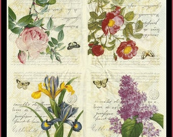 4 Decoupage Paper Napkins - Flowers -  Use For Decoupage, Mixed Media, Scrapbooking, Collage And Altered Art Projects