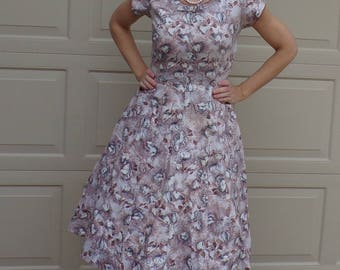 eve carver FLORAL COTTON day DRESS with belt beige gray S (D5)