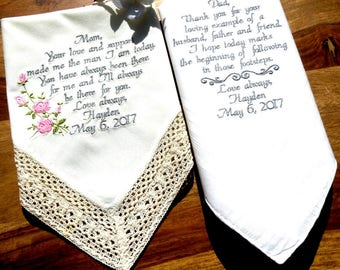 Wedding Handkerchiefs Mother Father of the Bride Handkerchief Embroidered Ivory Handkerchiefs Wedding Gift Mom and Dad By Canyon Embroidery