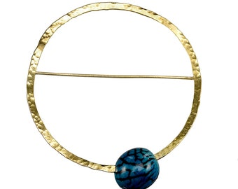 Large circle brooch, 3 inches pin, navy bead pin, hammered jewellery, geometric jewelry, brooch under 30, metallic brooch, minimal pin