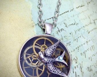 Steampunk Watch movement pendant - Flight - Steampunk Necklace - Repurposed art