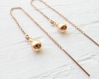 Thread Earrings Rose Gold Threader Earings Ear Threads Rosegold Jewelry