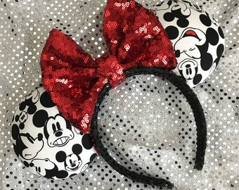 Inspired Many Faces Of Mickey Black and White Minnie Mouse Ears