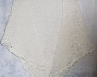 beautiful cream hand knitted shawl color