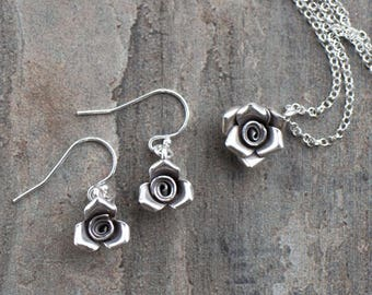 Mother's Day Gift, Sterling Silver Flower Necklace and Earrings, Silver Jewellery Set, Floral Necklace, Silver Rose Necklace, Gift for Mum