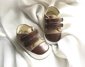 Pre Walker Preston Brown - Baby Boy Shoes - Handmade Baby Shoes - Brown Baby Shoes - Baby Soft Sole Shoes