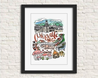 Asheville, North Carolina Handlettered Watercolor 8x10 in Wall Art Print Gift