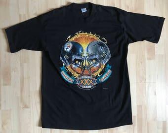 Vintage 1995 Pittsburgh Steelers Dallas Cowboys Super Bowl XXX Salem Sportswear T Shirt Extra Large