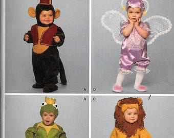 Simplicity Costumes 3594 Monkey Frog Lion Fairy Pattern Size Child 1/2, 1, 2, 3, 4 Footed Pajamas