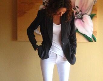 women's vintage blazer // pinstripe blazer // equestrian jacket