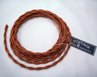 Copper Cloth Covered Wire - 7-ft  - Antique Style Lamp Cord - Industrial Light - Steampunk Lamp - Minimalist  - Edison Light - Table Light