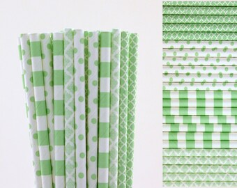 Mint Green Paper Straw Mix-Mint Green Straws-Striped Straws-Polka Dot Straws-Damask Straws-Wedding Straws-Mason Jar Straws-Party Straws