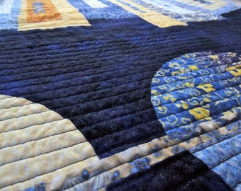 Modern Mystery Quilt in Blues and Yellows Handmade by Quilting Jetgirl