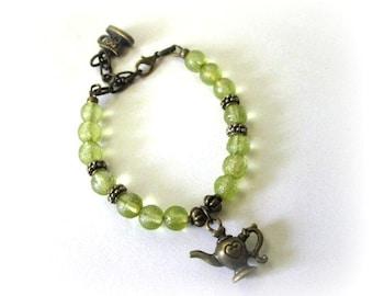Teapot bracelet green beaded jewelry antique brass bronze vintage victorian style light moss green Czech beads