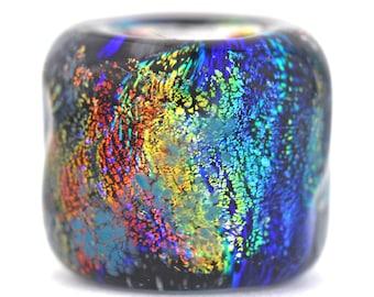 Dread Bead, Artist Worry Stone, dreadlock bead, glass dread bead, rainbow glass bead, hair bead, dread accessories, lampwork bead, dichroic