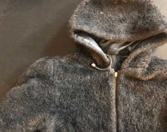 Vintage Synthetic fake Fur Hooded coat