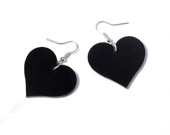 Rockabilly Acylic Hypoallergenic Heart Earrings