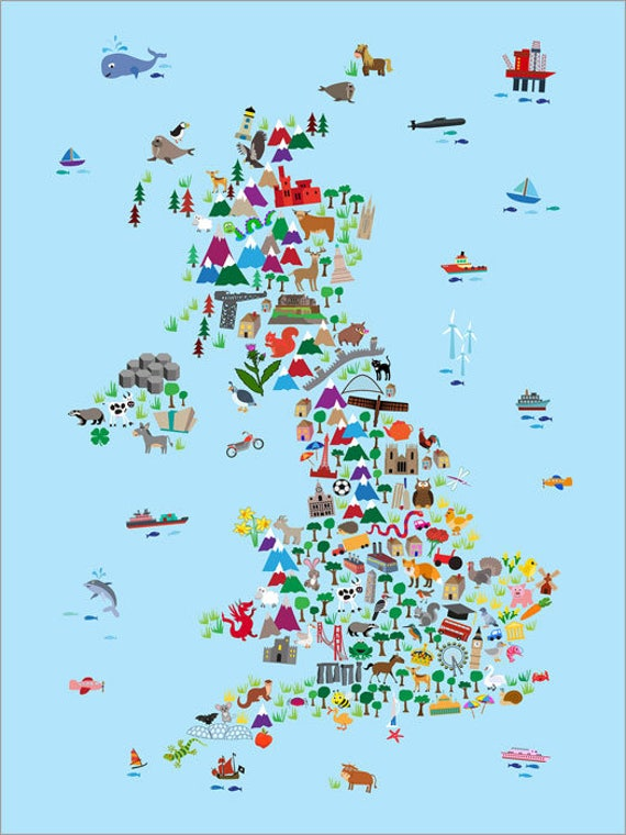 Great Britain Animal Map For Children And Kids UK Map Art - Map of great britain