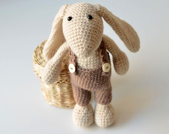 PATTERN - Crochet white bunny with long ears - soft rabbit with pants - instant download