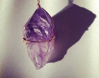 Simply Wrapped Copper and Raw Amethyst Pendant