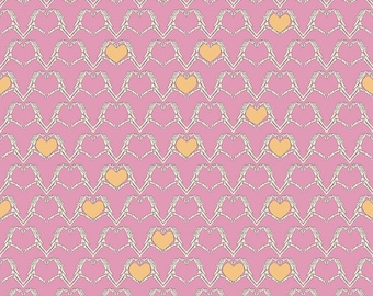 Riley Blake Designs Zombie Love Heart Pink fabric   - 1 yard