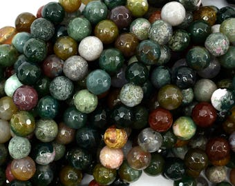 """8mm faceted Indian agate round beads 15"""" strand 38800"""