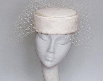 Ivory Birdcage Veil Bridal Pillbox Fascinator-Bridal Hat-Wedding-Jackie 'O' SS2018