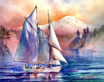 Setting Sail in the Puget Sound -Watercolor Painting Print by Michael David Sorensen. Mt Rainier. Colorful Watercolor. Sailboat Painting.