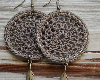 Boho Crochet Earrings, Dreamcatcher Earrings, Jewelry, Bohemian Earrings, Crochet Earrings