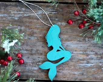 Mermaid Ornament, Personalized Christmas Ornament, Mermaid Stocking Stuffer, Beach Ornament, Hand Painted Ornament, Mermaid Christmas Decor
