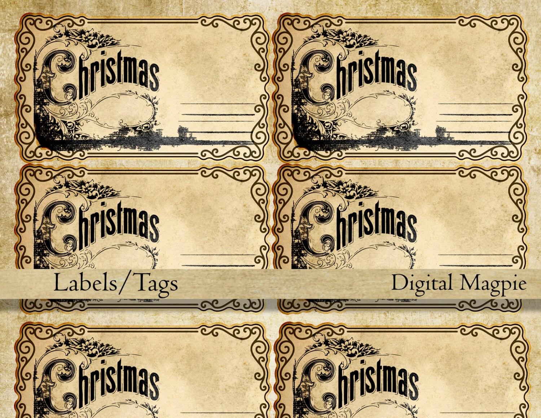 Blank printable victorian Christmas tags vintage labels