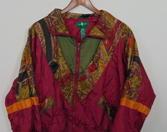 Vintage  Hunt Club Women L Full Zip Windbreaker Retro Jacket Nylon Athletic Lined 90s 80s